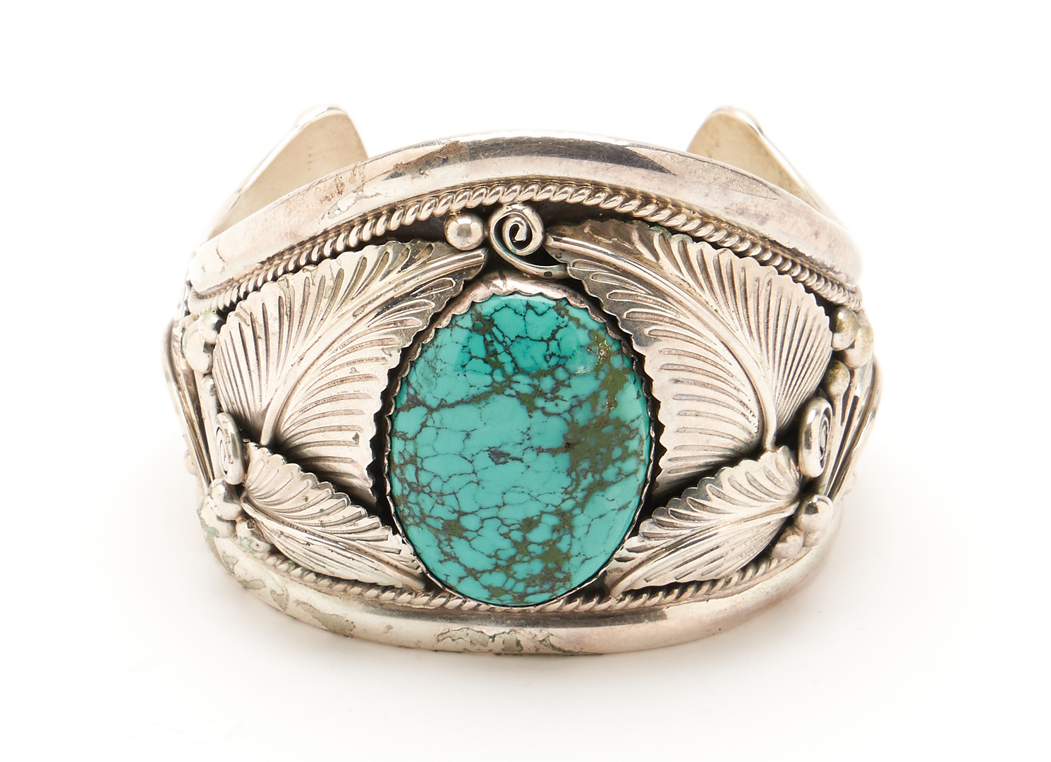 Lot 643: 3 pcs. Native American Turquoise & Silver Jewelry, 2 signed