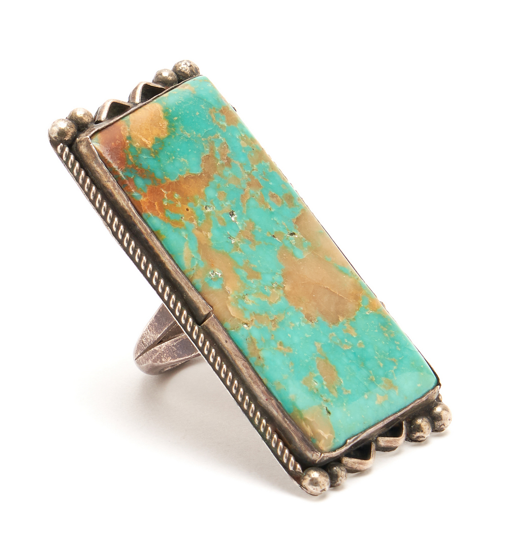 Lot 644: 3 Navajo Sterling & Boulder Turquoise Jewelry Items