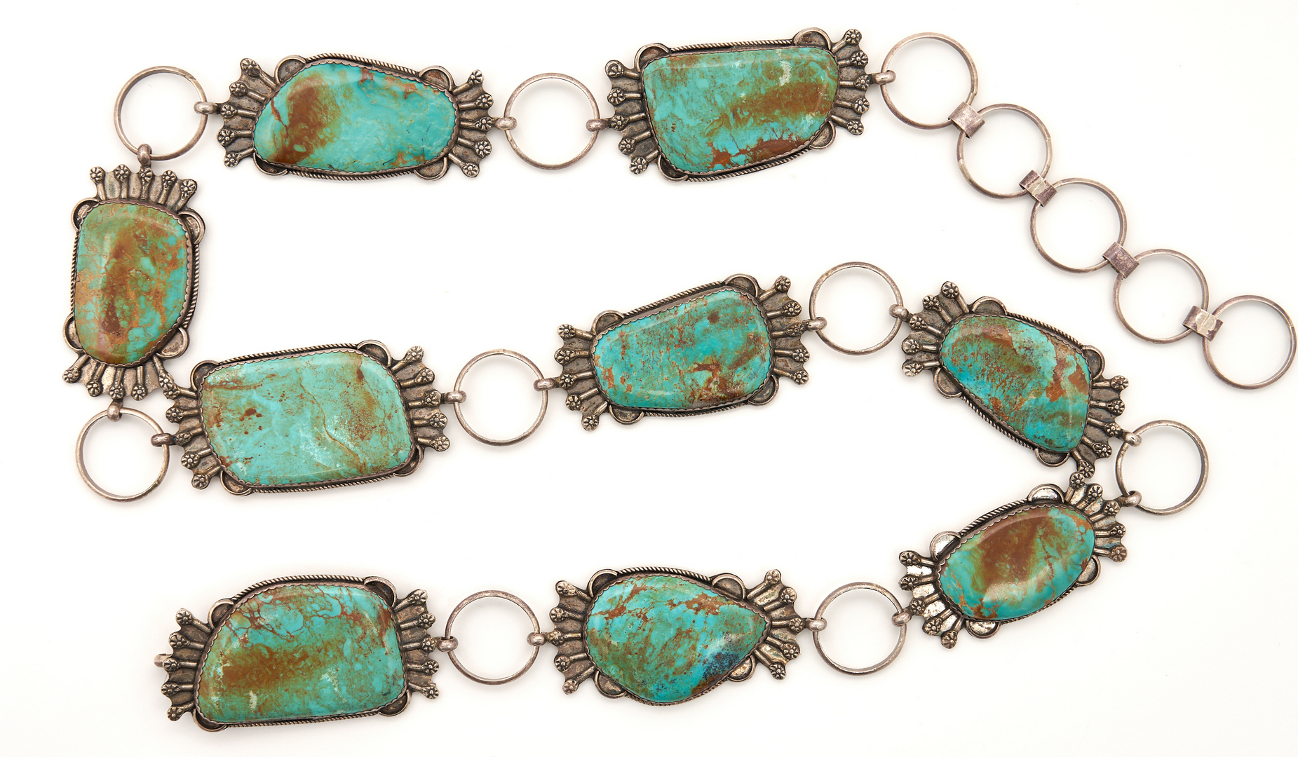 Lot 645: Native American Silver & Turquoise Belt and Cuff Bracelet