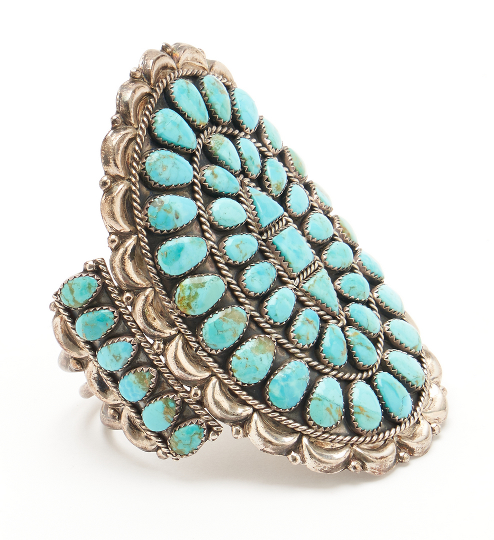 Lot 646: 3 Navajo Sterling & Turquoise Jewelry Items, 2 Signed