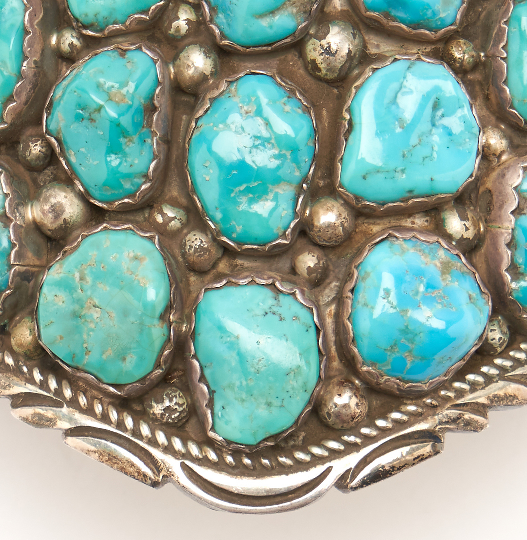 Lot 647: 5 Native American Silver & Turquoise Jewelry Items