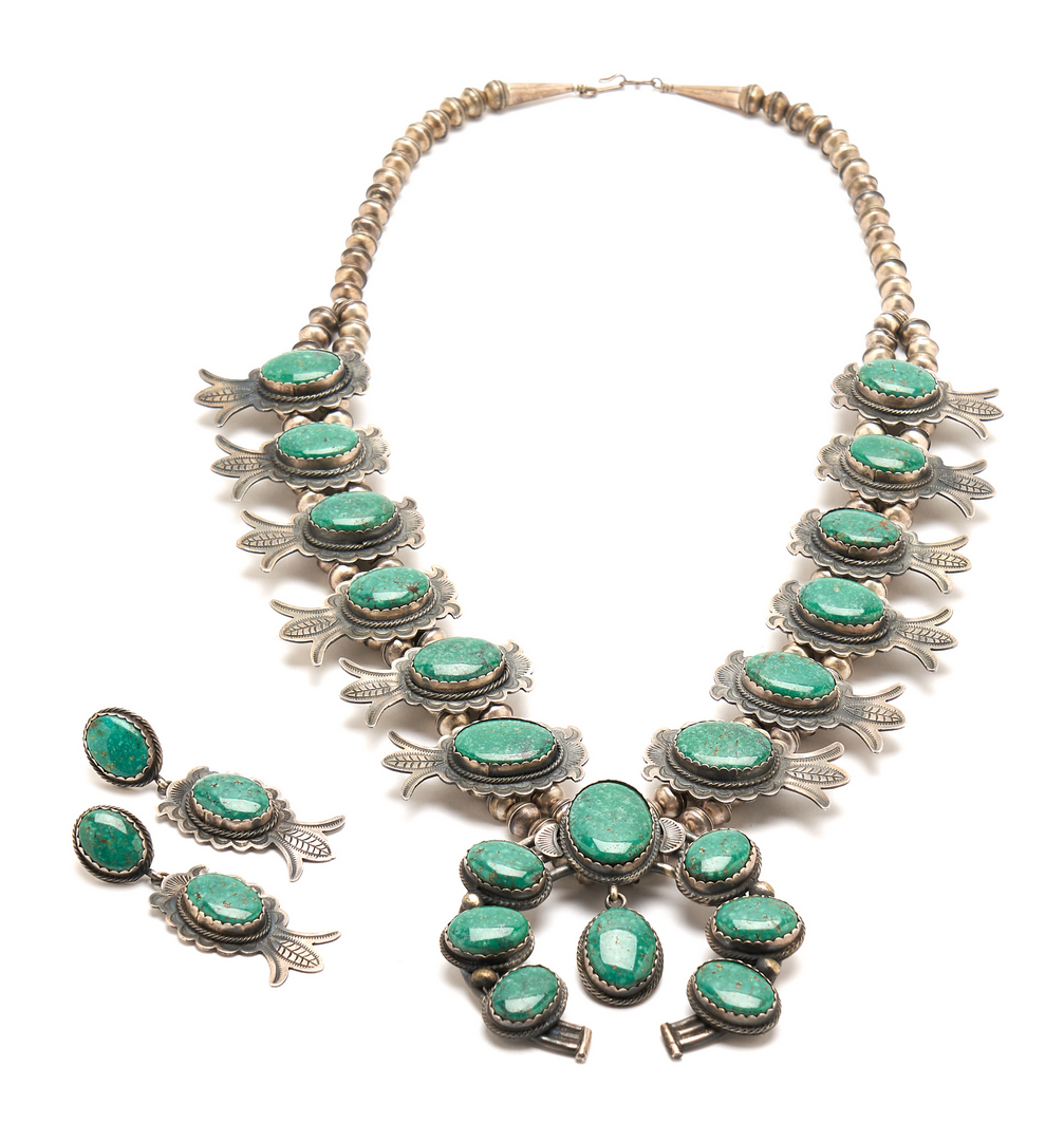 Lot 649: Native American Squash Blossom Necklace & Matching Earrings