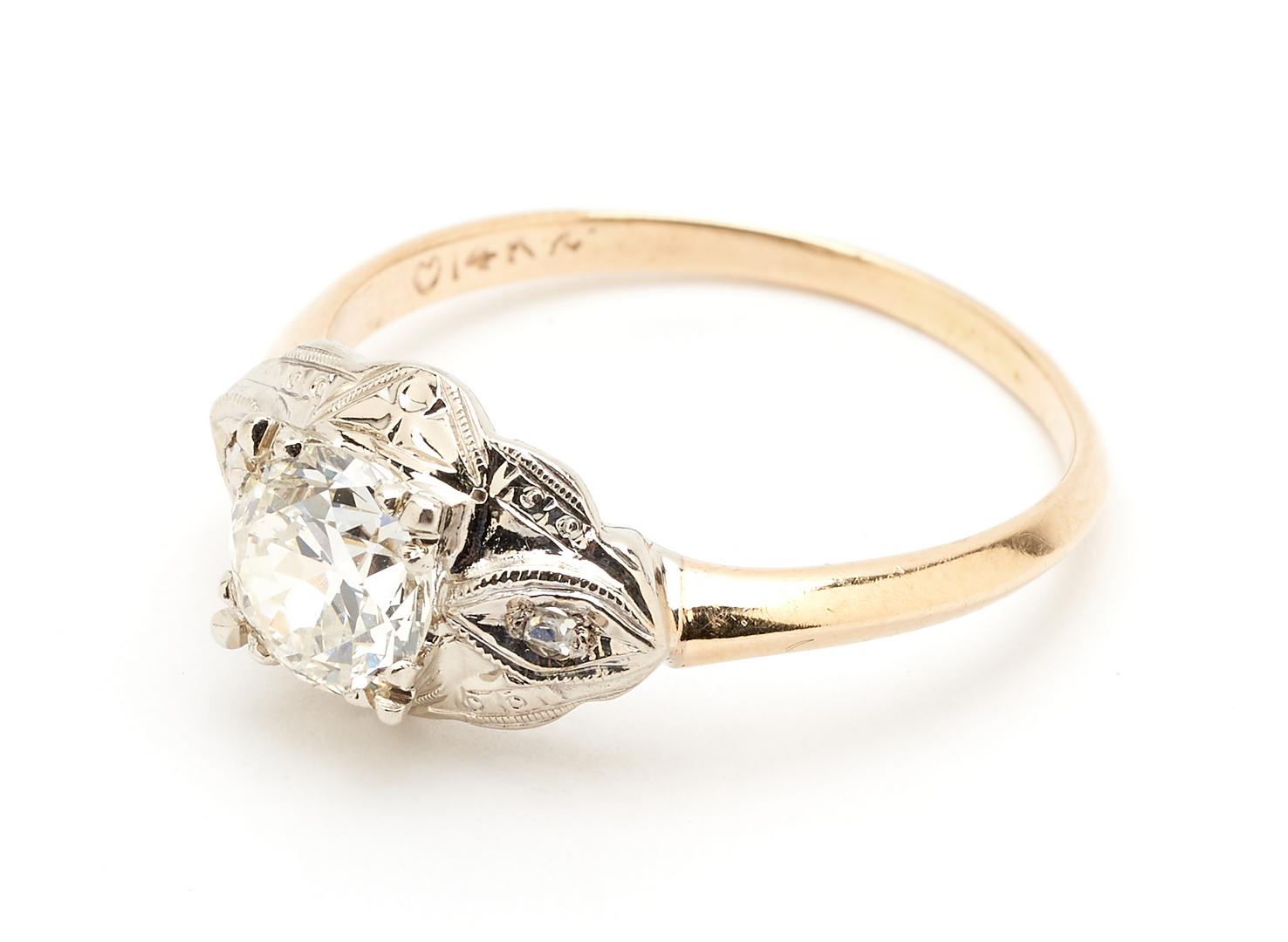 Lot 64: 14K Vintage European Diamond Ring