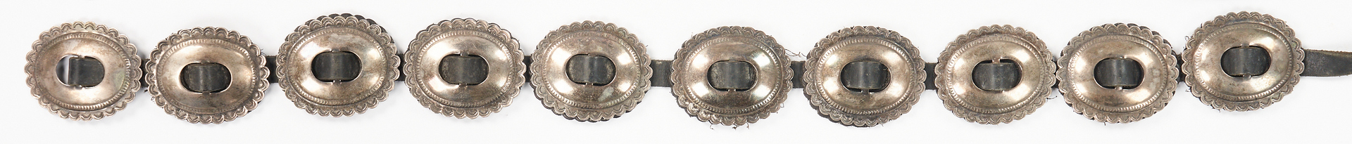 Lot 650:  2 Native American Sterling Silver & Leather Concho Belts