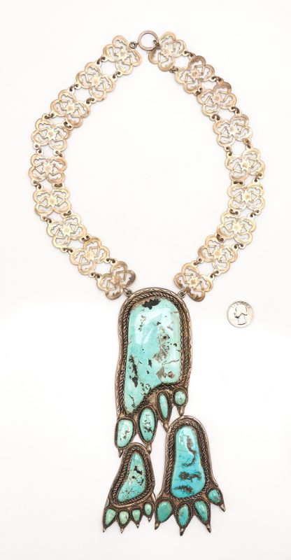 Lot 651: Large Native American Turquoise & Silver Bear Paw Necklace