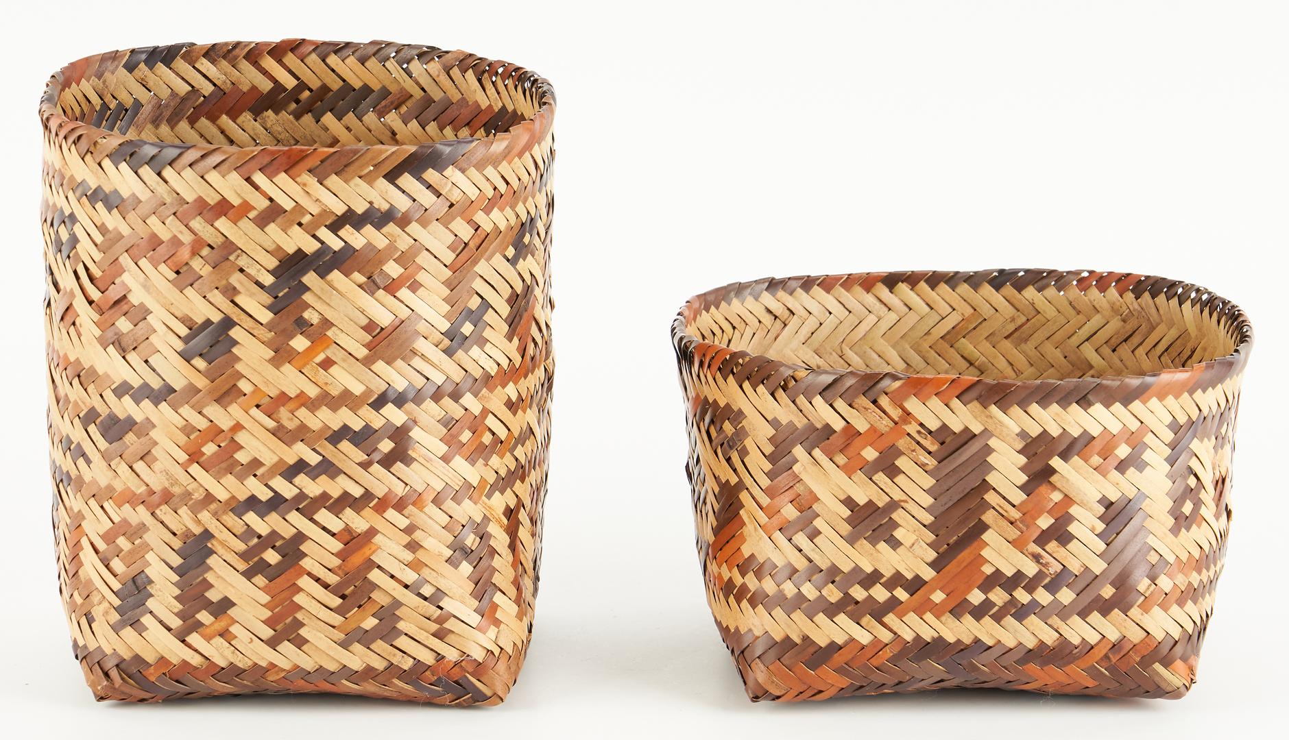 Lot 652: Lidded Choctaw Double Weave Rivercane Basket