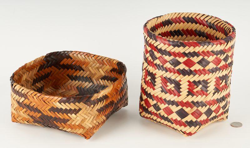 Lot 654: 2 Double Weave Rivercane Baskets, Cherokee & Choctaw