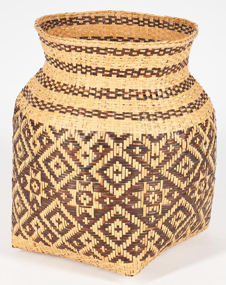 Lot 655: Very Large Native American Cherokee Rivercane Basket