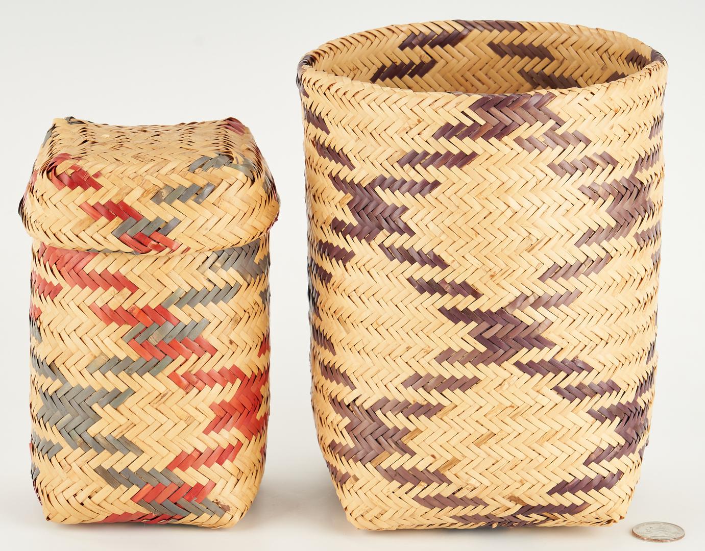 Lot 657: 2 Contemporary Choctaw Rivercane Baskets