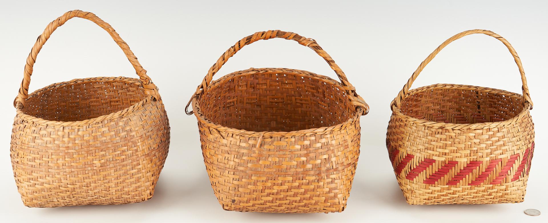 Lot 659: 3 Native American Coushatta Rivercane Baskets