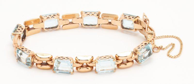 Lot 65: Ladies 18K Aquamarine Bracelet