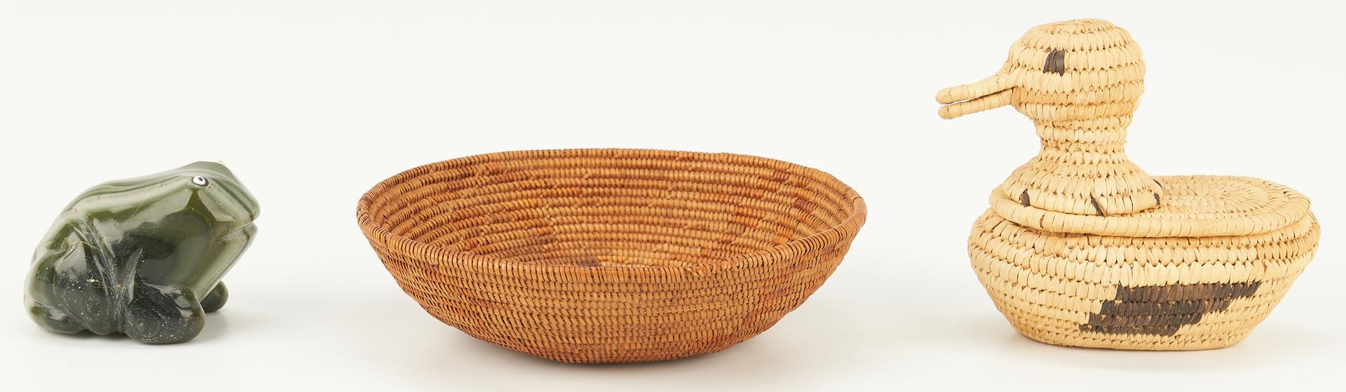 Lot 660: 5 Native American Decorative Items, incl. Papago & Hopi Baskets