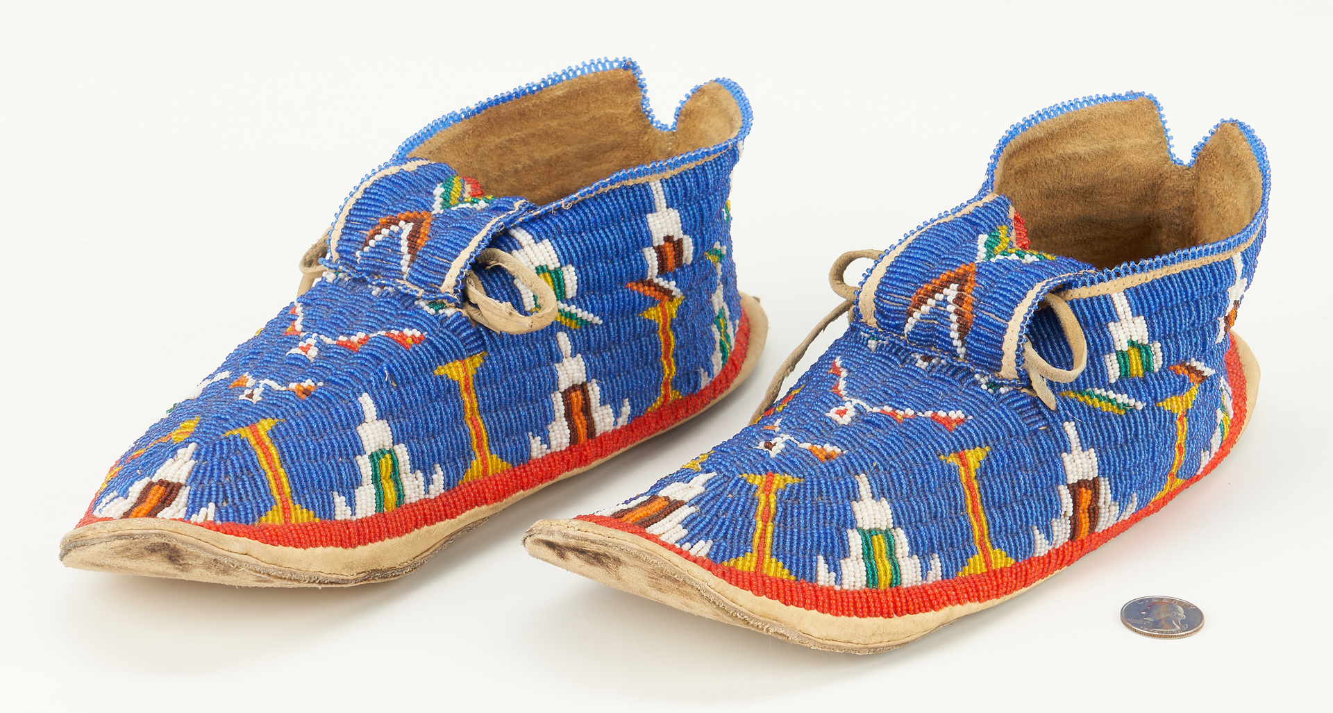 Lot 666: Pair Native American Plains Indian Beaded Moccasins