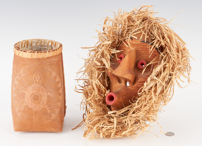 Lot 667: Iroquois Mohawk Mask & Chippewa Birch Basket, 2 items