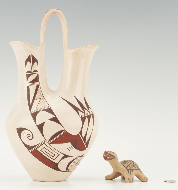 Lot 676: 2 Native American Pottery Items, incl. Navasie & Gutierrez