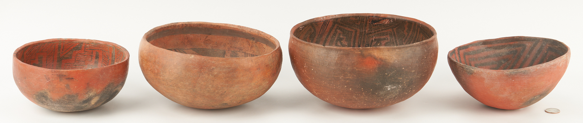 Lot 679: 4 Anasazi Culture Black on Red Pottery Bowls