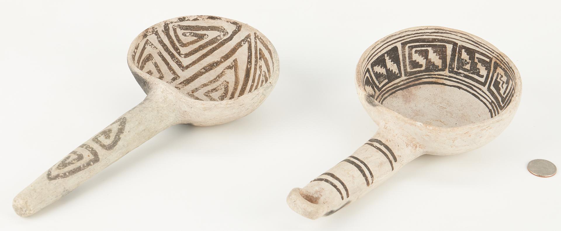 Lot 681: 2 Anasazi Black on White Pottery Ladles