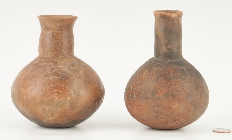 Lot 683: 2 Native American Caddo Culture Engraved Bottles