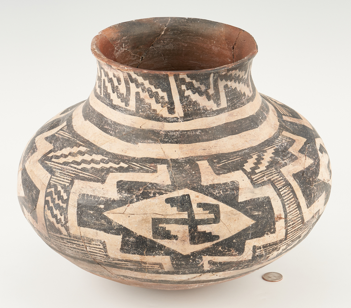 Lot 685: Large Early Anasazi Pottery Olla, Black & White on Red