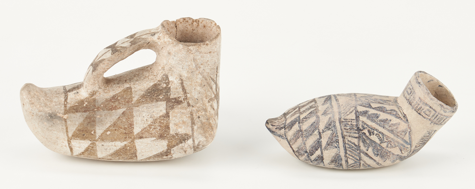 Lot 688: 2 Black on White Anasazi Pottery Duck Effigy Jars