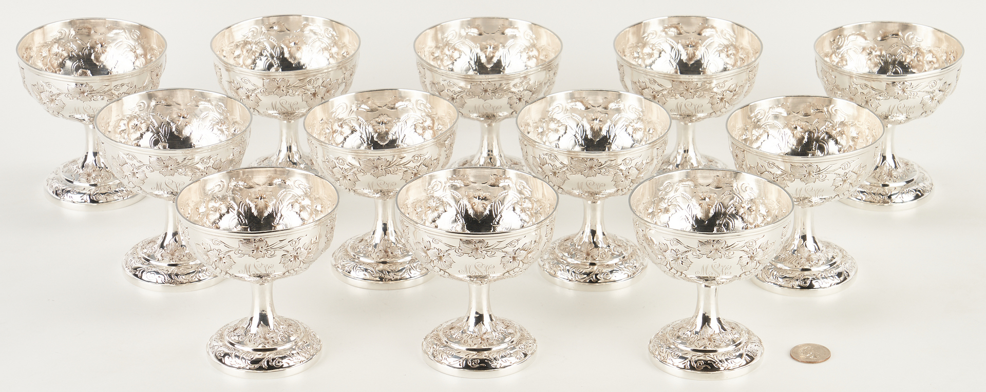 Lot 6: 12 Yu Chang Chinese Export Sterling Repousse Wine or Sherbets