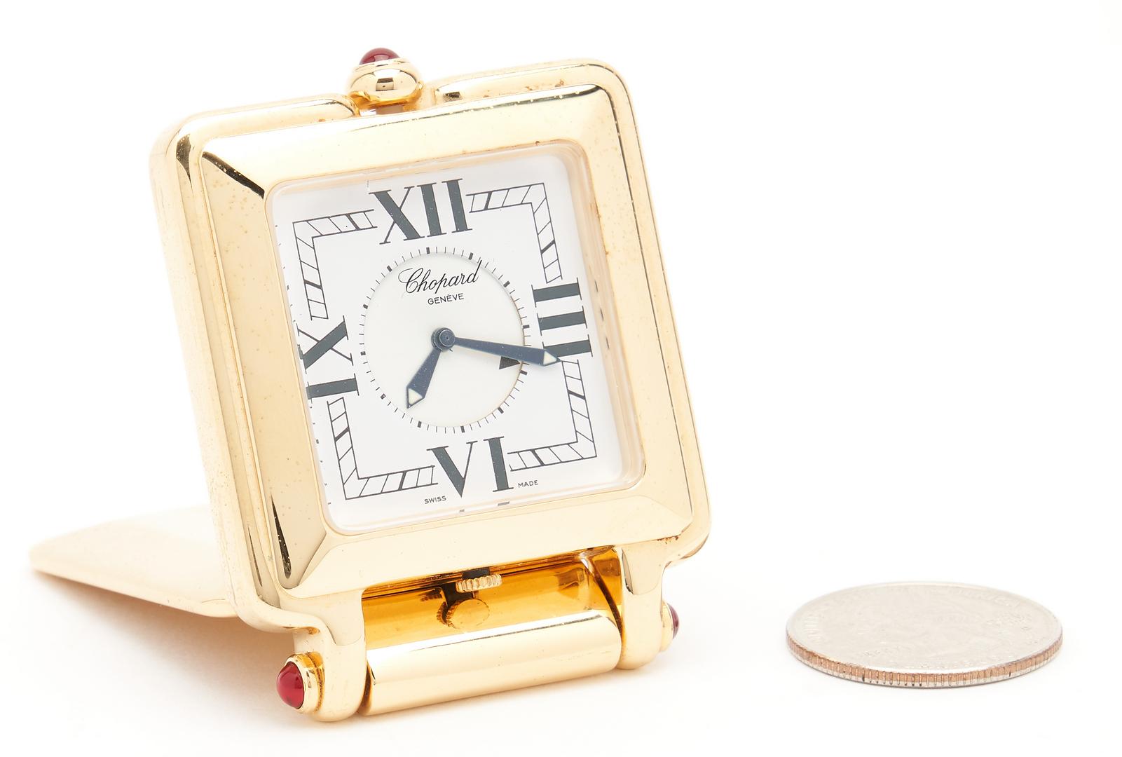 Lot 701: 2 Vintage Cartier Clocks & 1 Chopard Happy Day Travel Clock