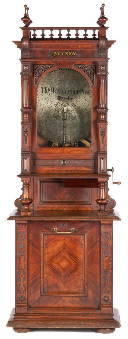 Lot 704: Polyphon Upright Coin Operated Music Box w/ 24 Disks