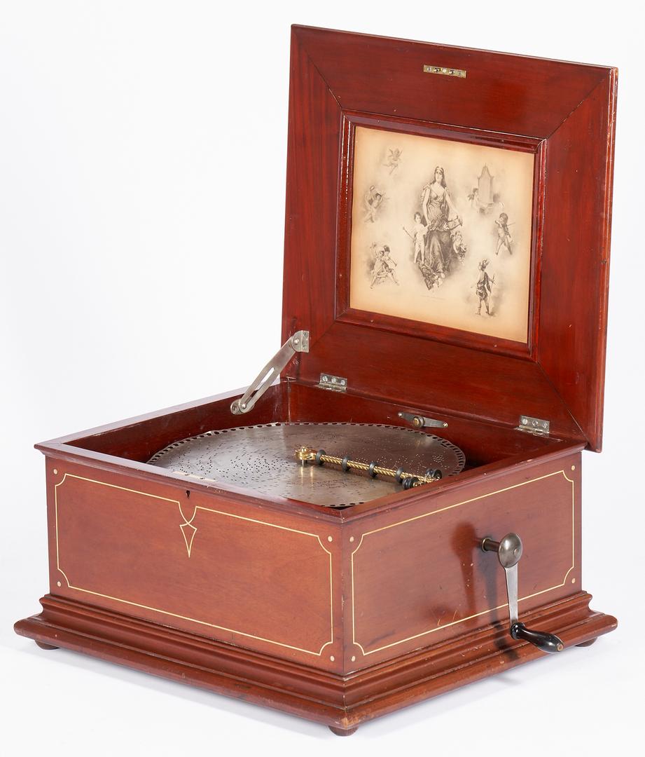 Lot 705: Regina Inlaid Music Box Plus 20 Discs