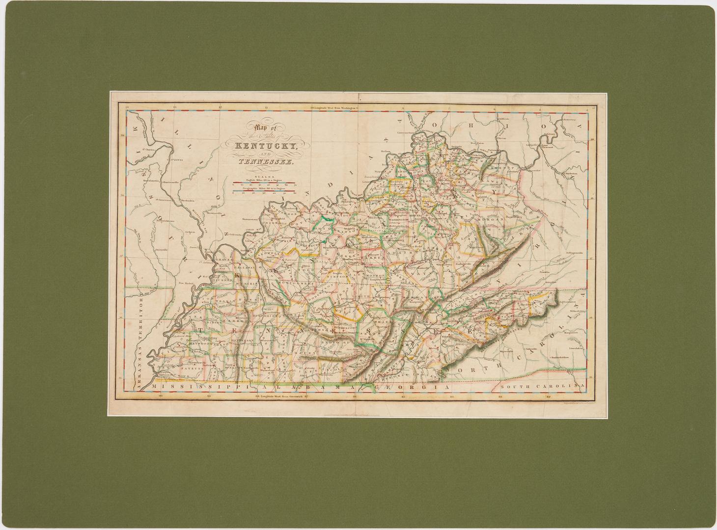 Lot 711: 4 KY and TN Maps plus KY Civil War Print, 5 items