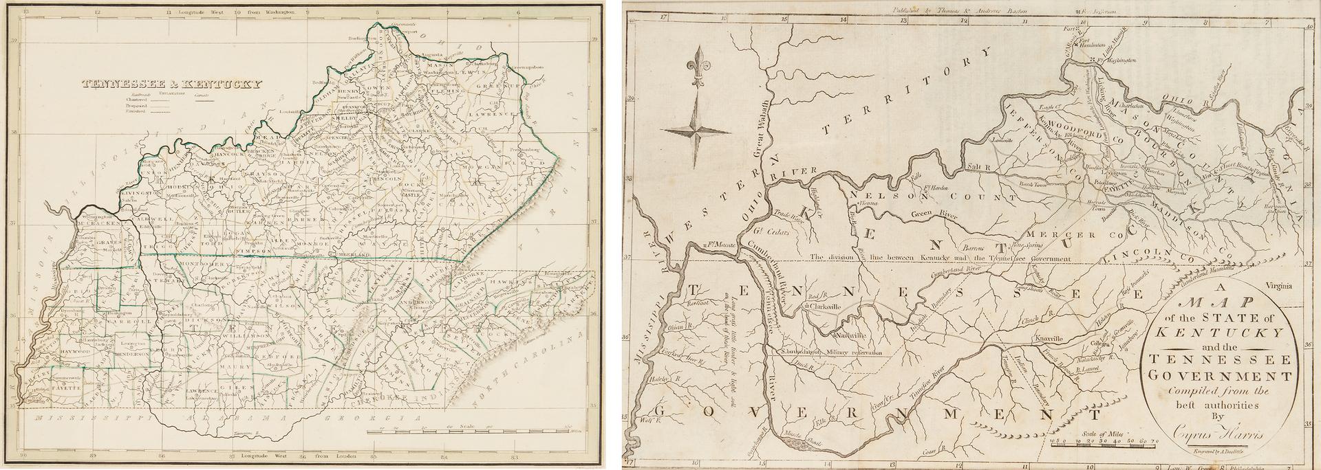 Lot 713: 2 TN & KY Maps incl. C. Harris, 1796