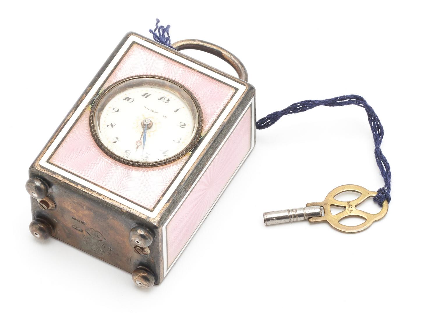 Lot 72: Tiffany & Co. Guilloche Enameled Clock