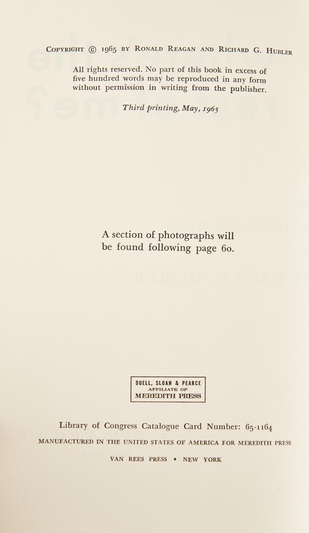 Lot 736: 3 Ronald Reagan Items, incl. Signed Book
