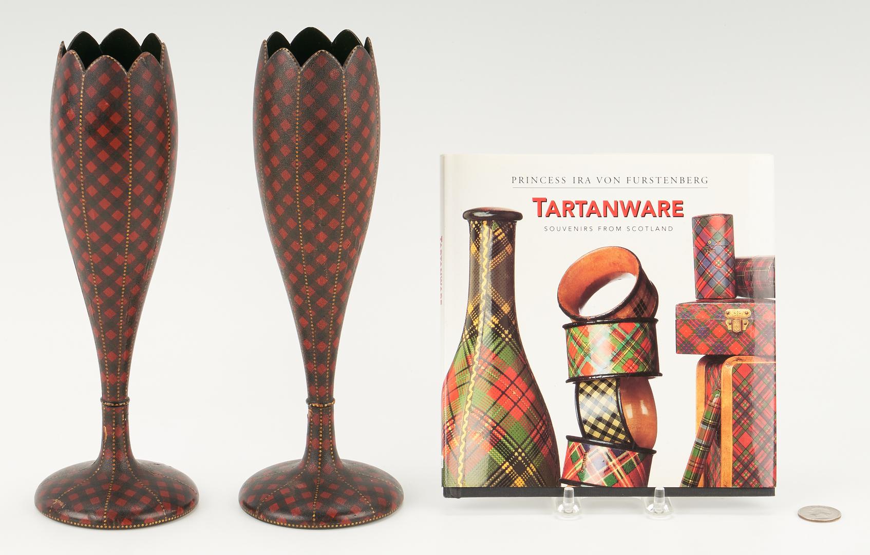Lot 73: Pair Scottish Tartanware Spill Vases & Tartanware Book, 3 items