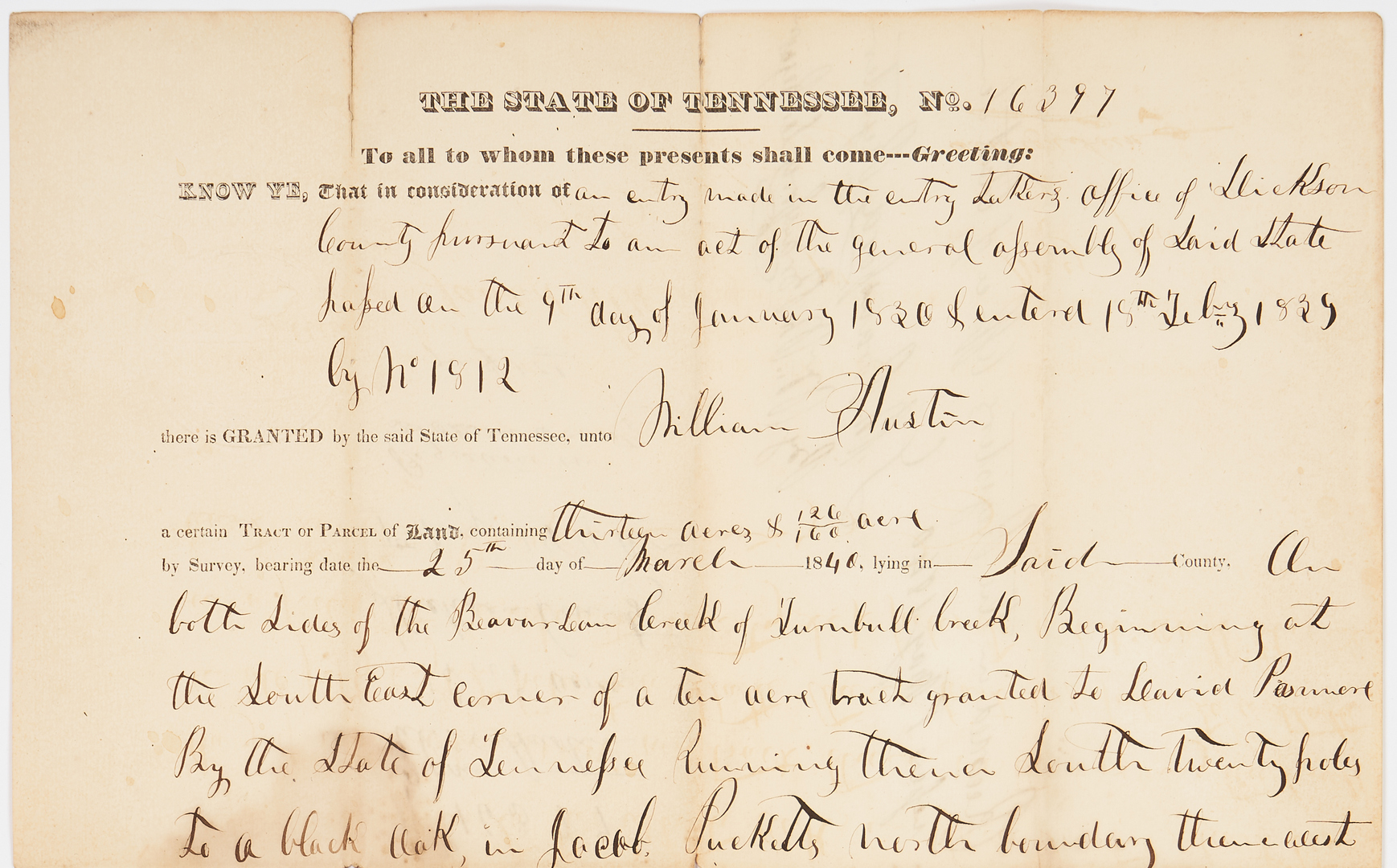 Lot 744: James K. Polk Signed Land Grant, 1840