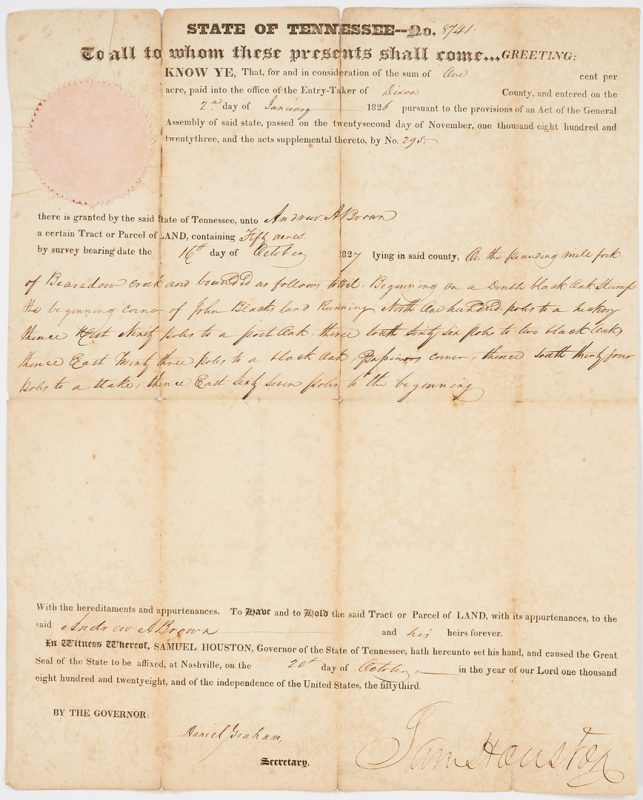 Lot 745: Sam Houston Signed Land Grant, 1827