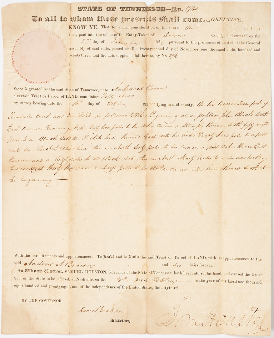 Lot 746: Sam Houston Signed Land Grant, 1827, 2 of 2