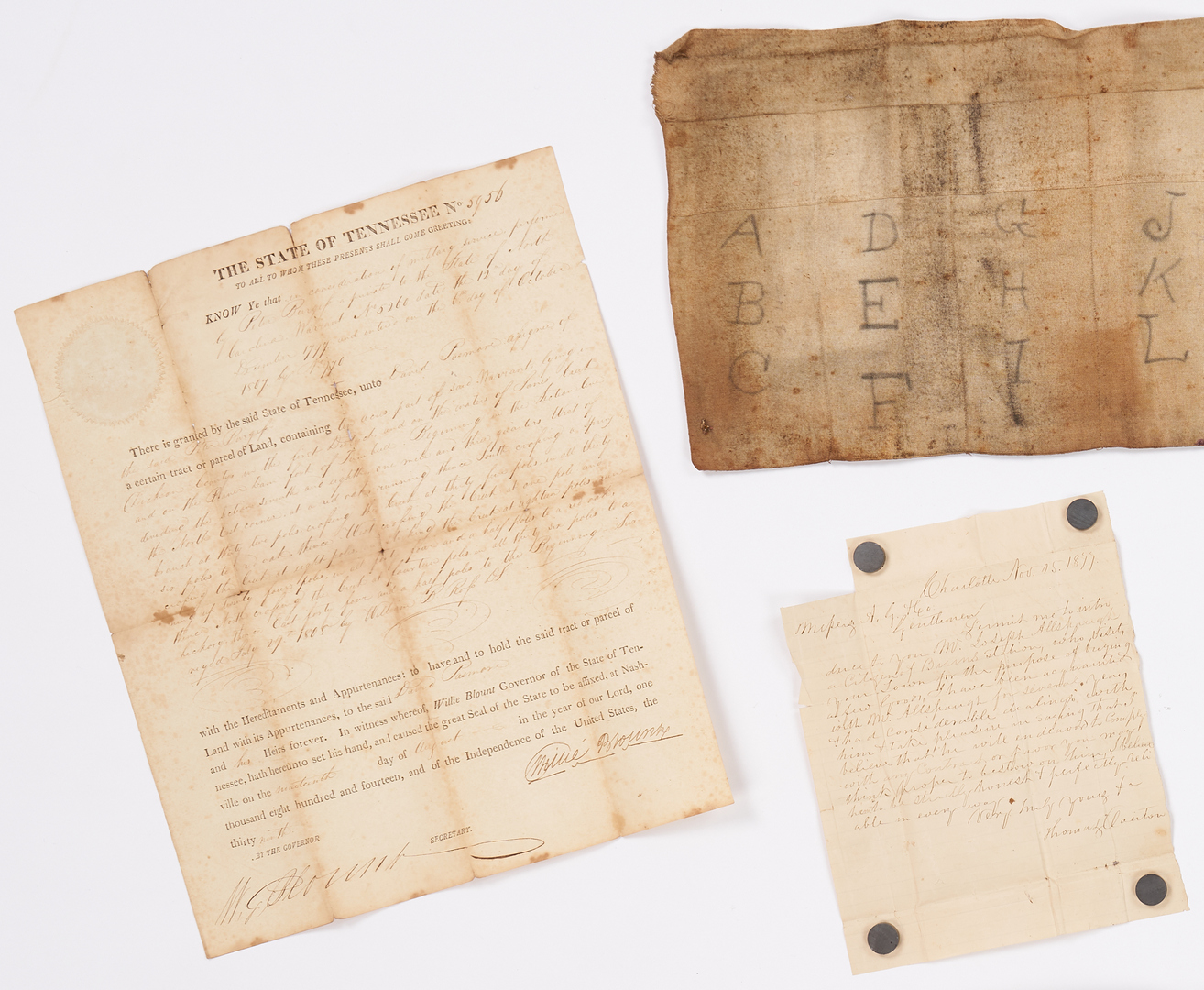 Lot 747: Willie Blount Signed Land Grant + TN Archive, 19 items