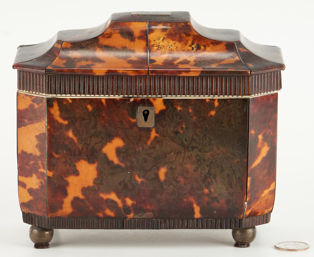 Lot 76: English Regency Double Compartment Tortoiseshell Tea Caddy