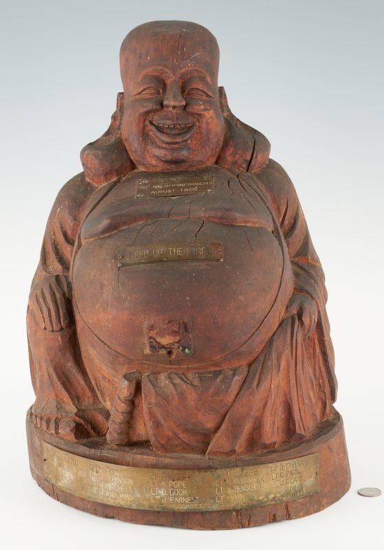 Lot 774: Vietnam US 9th Inf. Reg. Manchu, Wooden Buddha
