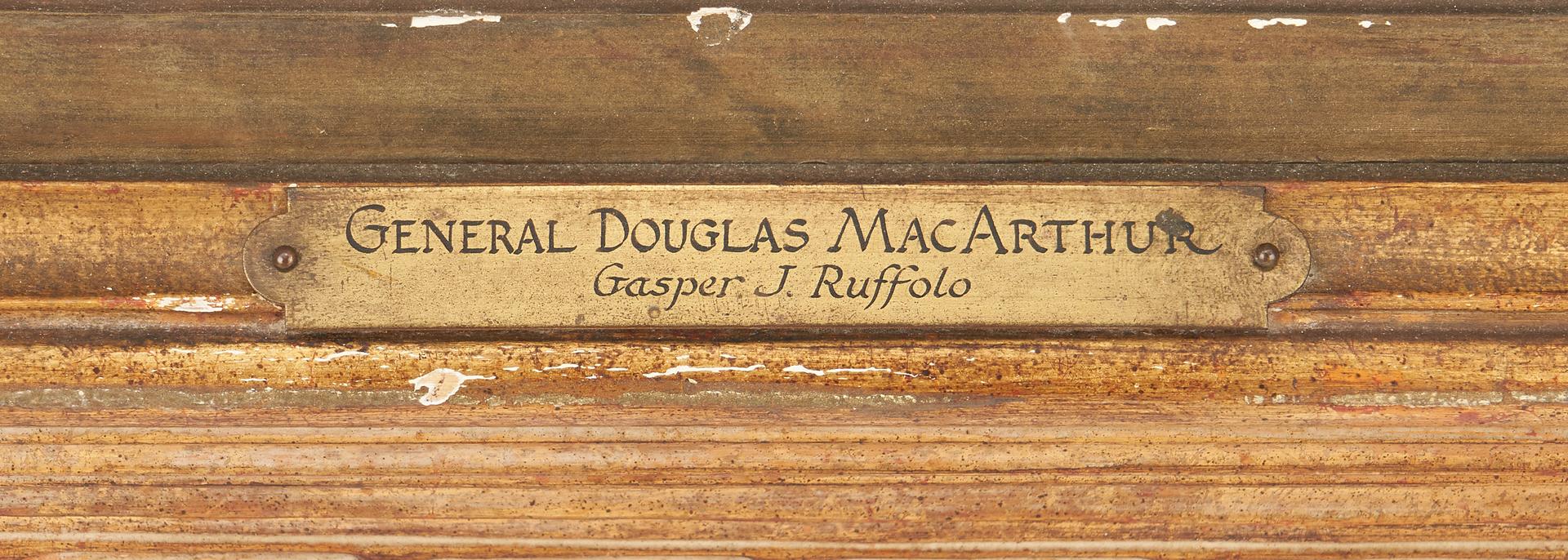 Lot 776: G. Ruffolo Oil on Canvas Portrait of General Douglas MacArthur, 1935