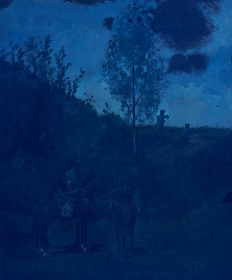Lot 778: Georges-Louis Hyon O/C Military Painting, Les Eclaireurs