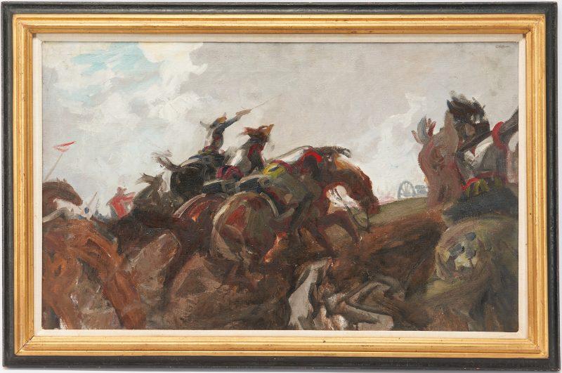 Lot 779: Charles Hoffbauer Waterloo Scene, Charge of the Cuirassiers