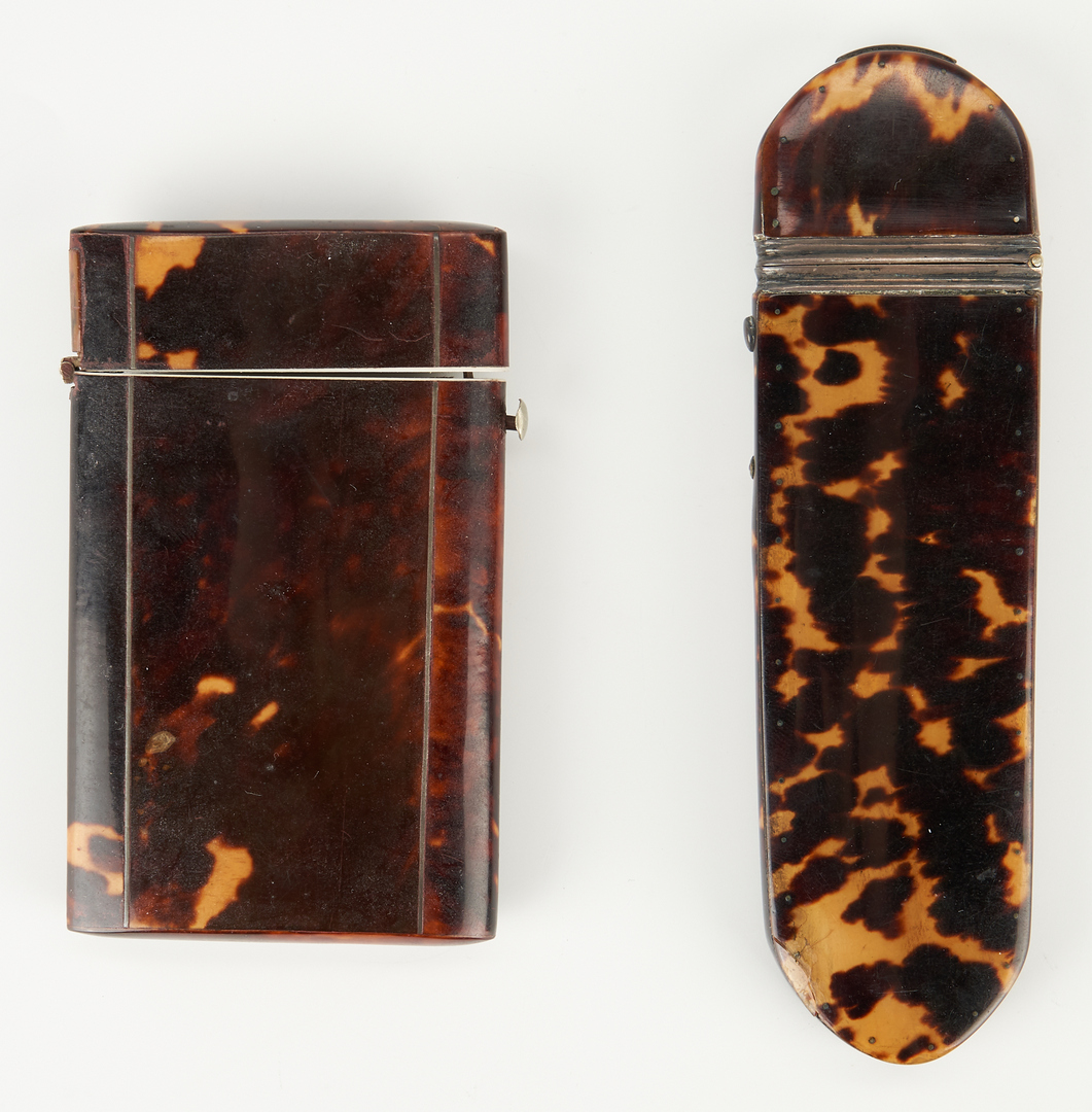 Lot 77: 6 Tortoise Items, incl. Mother of Pearl Inlay