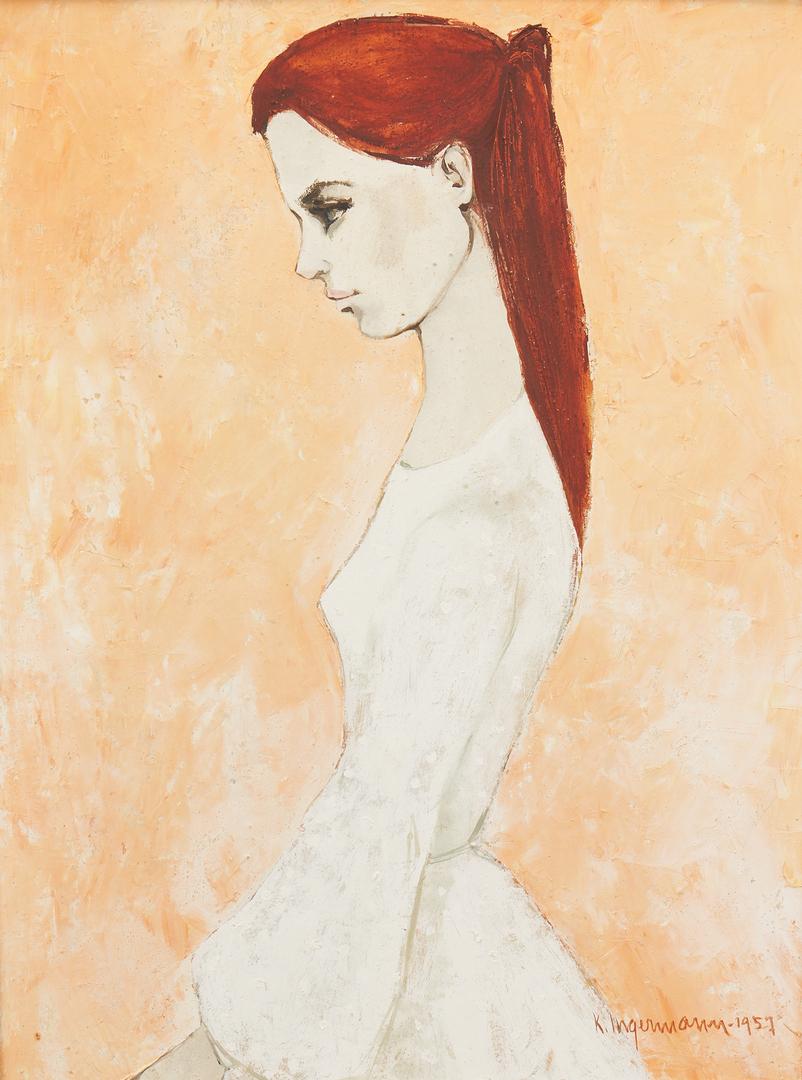Lot 783: 2 Oil Paintings of Women w/ Red Hair, incl. Keith Ingermann