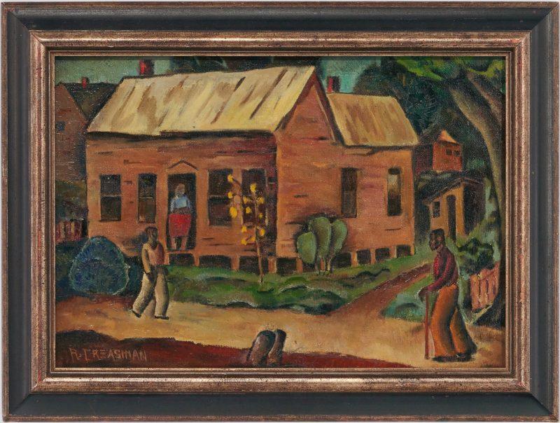 Lot 784: Ralph Creasman O/C, Black Americana Painting