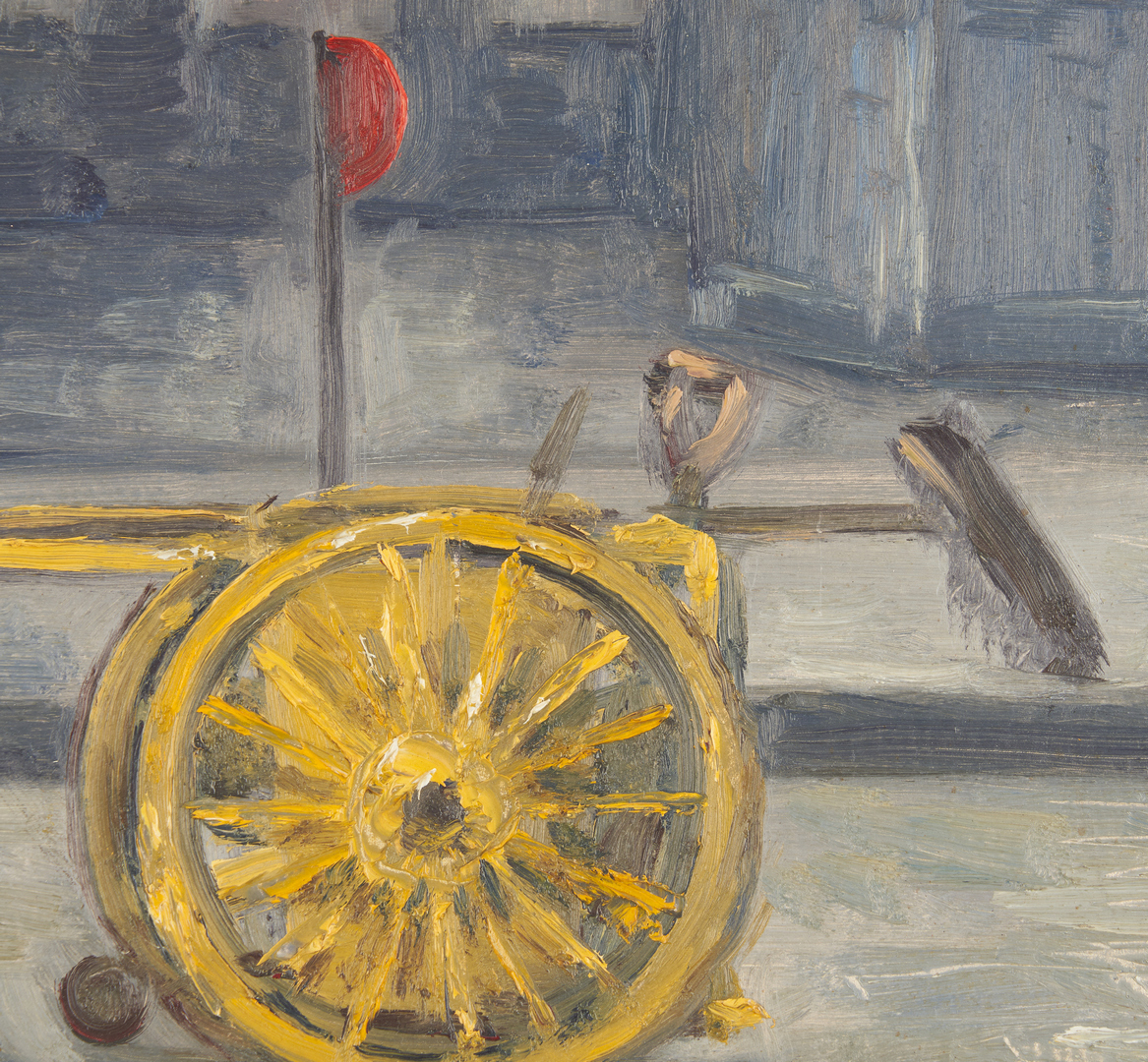 Lot 785: Clyde Singer O/B Painting, Street Cleaner