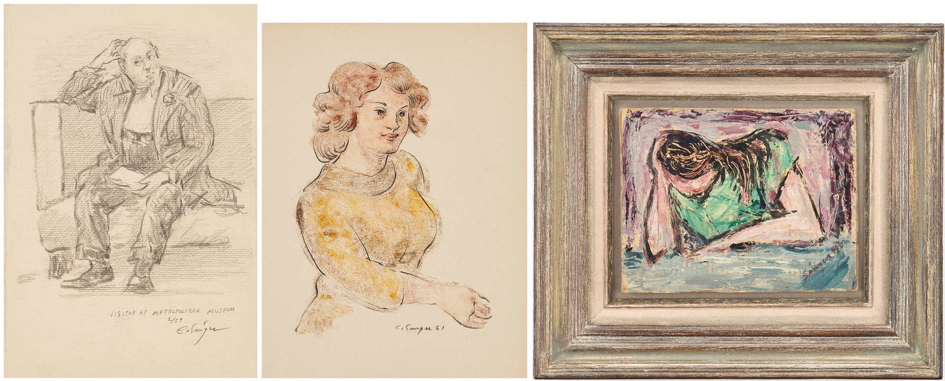 Lot 786: 3 Clyde Singer Artworks, incl. O/B Painting