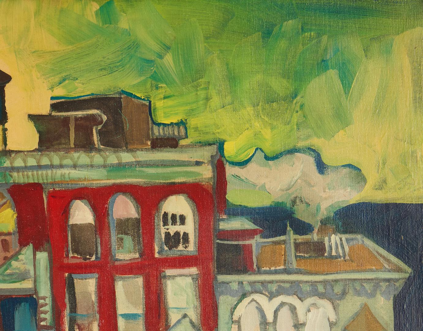 Lot 787: Jon Carsman Acrylic Cityscape Painting, Watchtowers