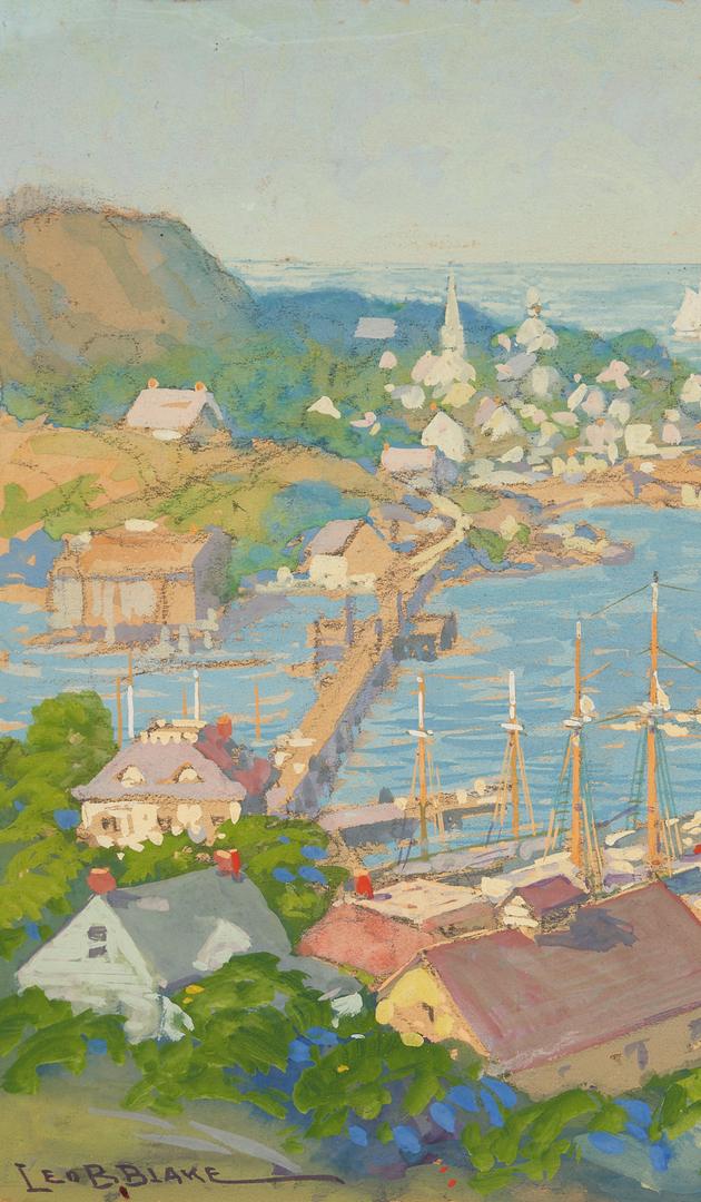Lot 788: Leo B. Blake Gouache Marine Painting, Coastal Landscape