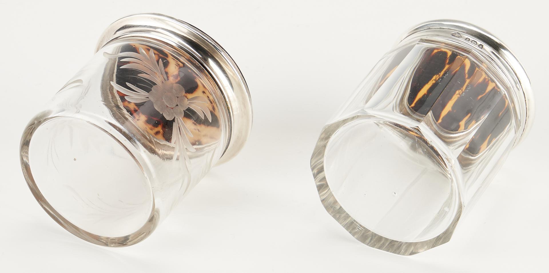 Lot 78: 7 English Tortoiseshell & Sterling Silver Glass Dresser Jars